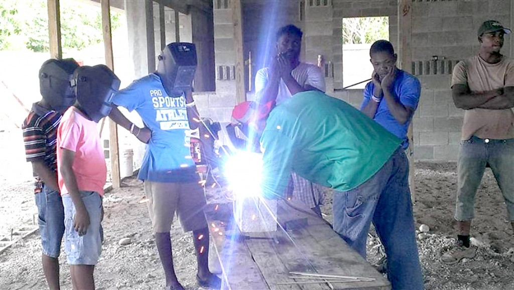 Welding with Home of Hope boys 1